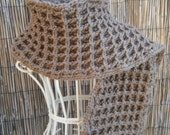Beautiful Warm Waffle Stitch Crocheted Brown Scarf