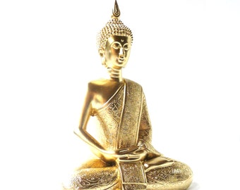 gold buddha statue, bohemian home decor, buddha art, sitting buddha sculpture