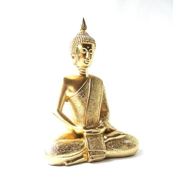 Gold Buddha Statue Bohemian Home Decor Buddha Art By Nashpop