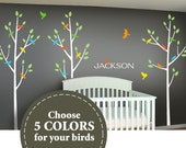 Children Wall Decal - Tree Wall Decal for your Nursery - Custom colors - choose 5 bird colors to match your crib bedding - baby monogram