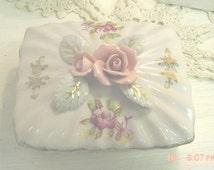 Porcelain Dresser Box Roses Jewelry Holder