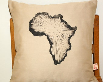 Africa hand block printed decorative scatter cushion cover in sand beige with Shweshwe backing
