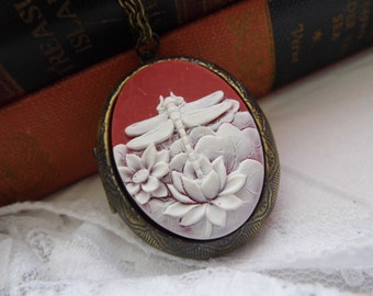Antique Gold Dragon Fly Locket Red & Ant White Georgian Victorian Cameo Ladies Silver Filegre art designer Necklace Pendant