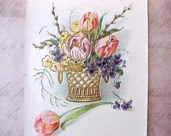 Lovely Scandinavian Postcard-Basket of Spring Flowers with Tulips, Violets, Etc.