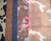 Fabric Scrap Pack- Brown and Black Fabric
