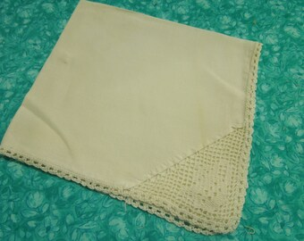 Vintage Ivory Handkerchief Hanky with hand crochet lace edge and corner by MarlenesAttic