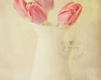 tulip flower photo print - whimsical fine art nature photography, flowers, stilllfe photography, wall art, floral, pink, pastels, floral art