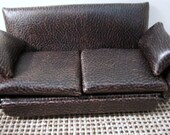 LEATHER COUCH and OVERSTUFFED Chair with ottoman