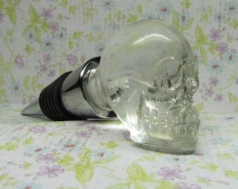 Glass Skull Pull Wine Bottle Stopper