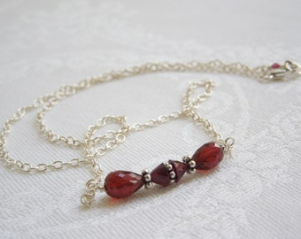 Garnet Necklace: Wine Red Gemstones, AAA Garnets, Bali Sterling Silver, January Birthstone, Layered Necklace, Valentine's Day Gift