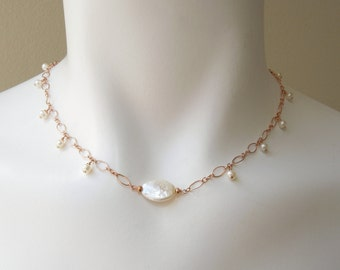 Romantic Bridal Necklace:  Freshwater Pearls- Rose Gold Filled Chain- Adjustable Length- Wedding Necklace