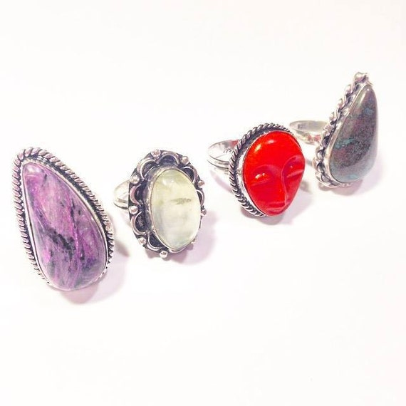 sterling silver unique gemstone rings