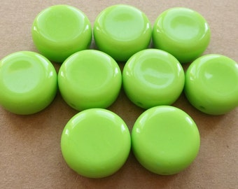 eco friendly large round bold chunky lime green acrylic beads with concave thumbprint design--matching lot of 9