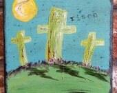 Original Acrylic, Inspirational Cross, 5 x 5, religious, Easter,  faith, canvas, textured, blue, green, christian, painting, bayoulandbeads,