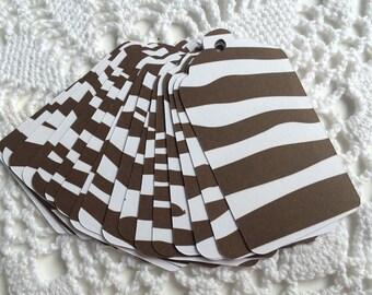 Zebra Tag, Brown Zebra Stripe Gift Tag, Animal Print Favor Label, Jungle Baby Shower, Safari Party Tags - Set of 20
