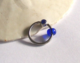 "Belly Button Ring - Body Jewelry - Beaded Captive Ring Belly Ring - Cobalt Blue Belly Rings - Body Jewelry - CBR 14 Gauge 7/16"" 1/2"" 5/8"""