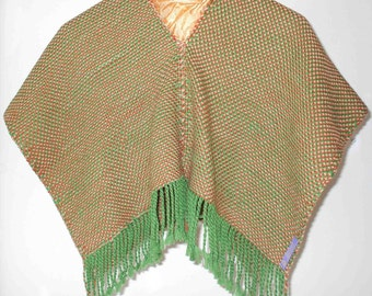 30%DISCOUNT/Handwoven Poncho for Children Green - Orange - Cream  - Wool - Cotton - Poncho with Fringe - Autumn - Winter - Soft - Accessory