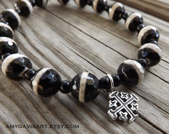 Men's Christian Bracelet, Sterling Silver Jerusalem Cross, Onyx Black & White Beads, Christian Missionary, Father's Day, Men's Gift Idea