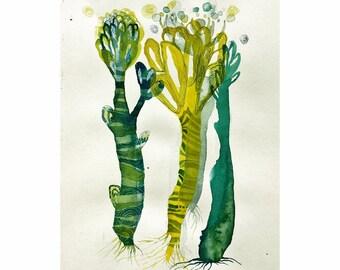 emerald flowers (original watercolor 9x11inch)