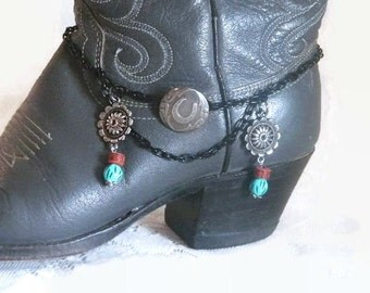 Cowgirl Concho Western Boot Bracelet - Western Charms for Ladies Boots.  Great for Cowgirl Boots Or Dress Boots. FREE US Shipping.