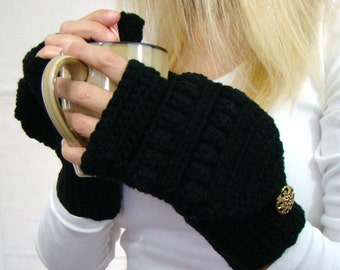 Black Convertible Fingerless Mittens, Crochet Glittens, Winter Fashion, Texting Mittens, Flip Top Mittens, Black Gloves, Black Ski Mittens