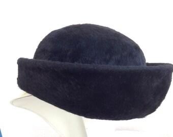 Vintage black furry wool hat by Duchess Miss Dee halo fit big brim