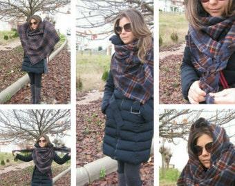 How to wear Blanket scarf-Tartan plaid trend blanket shawl scarf - ORANGE navy blue plaid oversize scarf-woman winter fashion-man fashion
