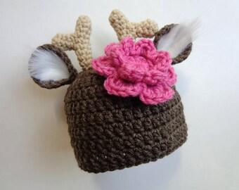 Crochet Newborn Deer Hat, Photo Prop, baby girl hat, deer hat