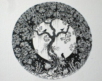 The Three Friends is an original black and white unframed circular ink illustration of a tree with birds and plants against a full moon.
