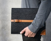 "NEW MacBook 12"" Sleeve / Case / Cover - Vegetable Tanned Italian Leather and Merino Wool Felt, Smokey Grey / Tan"
