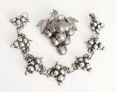 Vintage Taxco Mexican Sterling Bracelet & Brooch Set, Pin Pendant, Embossed Silver Grapes Brooch, Sterling Grape Bracelet
