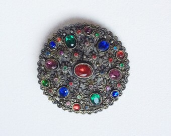 New England Glass Works Vintage Brooch, Multi Color Jewel Tone Rhinestone Brooch