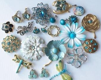 Beautiful Blue Brooch & Earring Lot, Carl Art Sterling,Bridal Bouquet, Blue Rhinestone Enamel Flower Brooch Lot