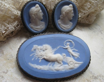 Sterling Cameo Set, Jasper Cameo, Pin and Screw Back Earrings, Blue Cameo, Vintage Cameos, Deco Jewelry, Estate Jewelry, Greek Mythology