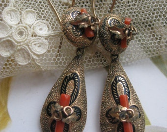 Victorian Pierced earrings Gold Fill Coral Branch