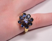 80s Purple Floral Ring, Gold Tone, Modern, Size 8, Vintage