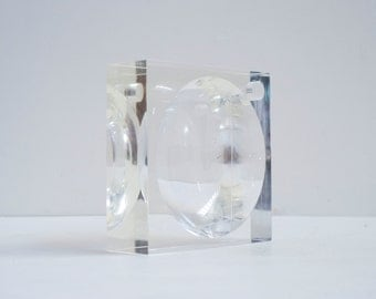 """Lucite 1960's Clear 8"""" x 8"""" Heavy Acrylic Mid Century Modern Space Age Cube Dish"""