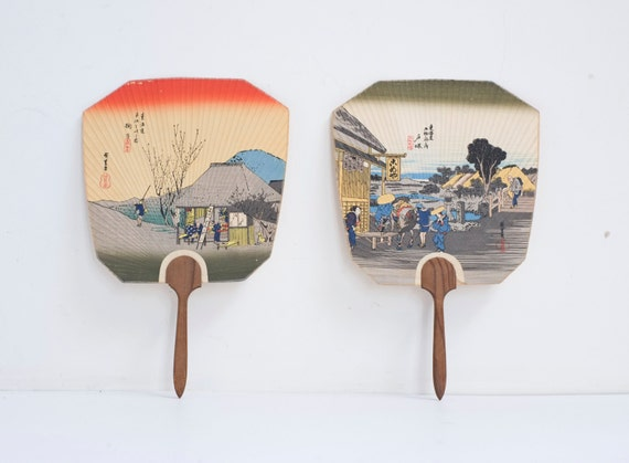 Japanese paper printed wood handle traditional pleated by archivo - Japanese paddle fan ...
