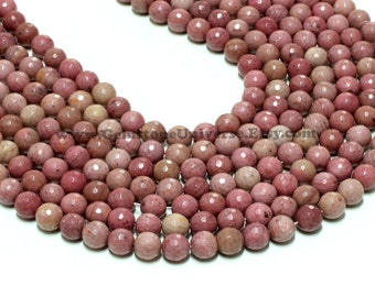 "GUB-2776-2 - Rhodonite Faceted Round Beads - 8mm - 16"" Strand"
