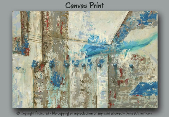 Wall Art Canvas Brown : Large wall art abstract canvas print brown turquoise red