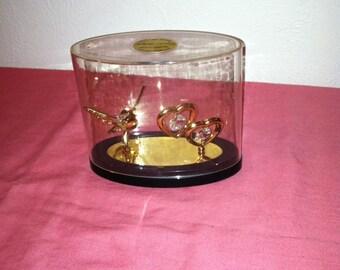 24k gold platet Austrian Crystal double heart and Hummingbird Bird set Crystal Delight