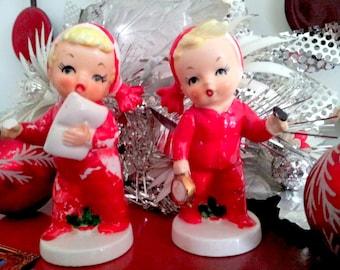 Napco Figurine Salt and Pepper Adorable Japan Vintage Christmas Decor Figurines
