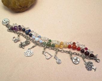 Seven Chakra Multistrand Bracelet  Rainbow Bracelet Reiki Infused Chakra Balancing Energy Jewelry BOHO Multi Strand Bracelet