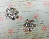 Vintage WEISS Style Rhinestone Clip Earrings - V-EAR-644 - Bridal Jewelry - WEISS Style Rhinestone Earrings