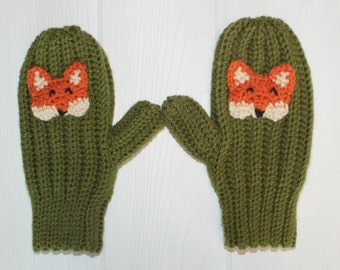 Fox Mittens, Crochet Animal Mittens, Adult Mittens, Made to Order