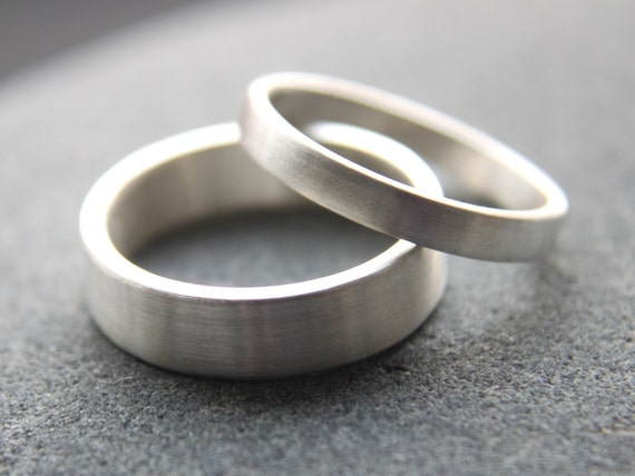 Recycled Silver Wedding Ring Set 5mm Mens Wedding Band