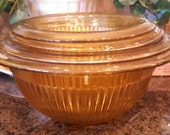 1930-1940's Set of Gold Glass Ribbed Nesting Mixing Bowls