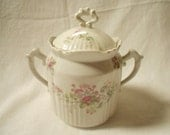 French Antique Sugar Bowl Floral Faience Fine (A994)