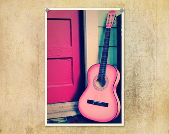Guitar Photography Pink Music Art Print Vintage-Style 8x12