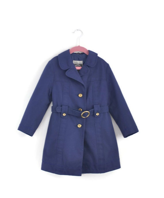 Girls Coat Girls Vintage Coat Girls Trenchcoat Girls Navy